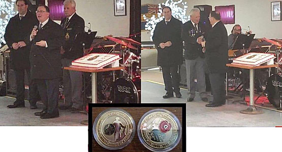 Campbell's presents a commemoriative coin to the local legion on Remembrance Day 2018