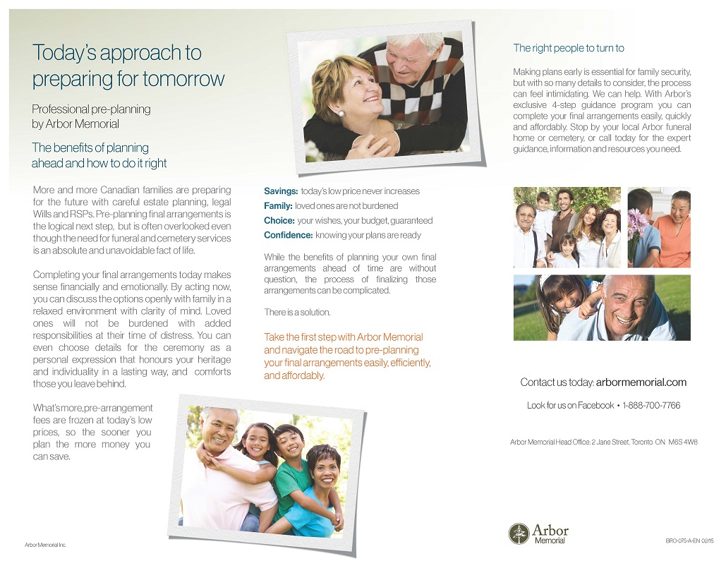 Benefits of Pre-Planning Brochure Page 1