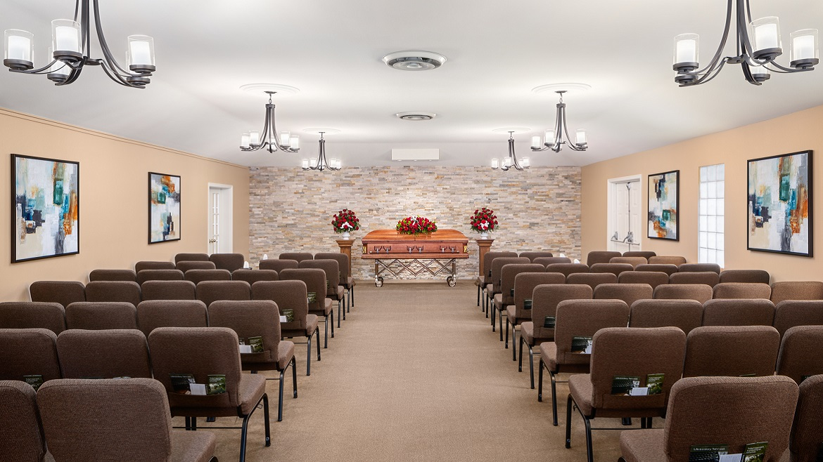 Funeral home chapel with seating for up to 100 people