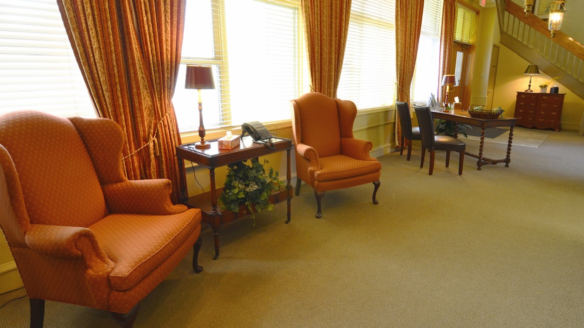 Spacious lobby in funeral home