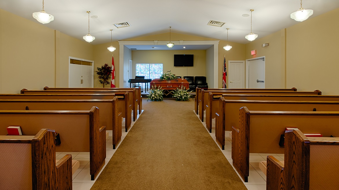Funeral home chapel with seating for 125 people