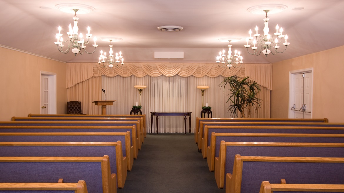 Funeral home chapel with seating for up to 110 people