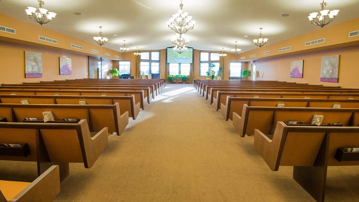 Onsite funeral home home has a chapel with audio visual equipment