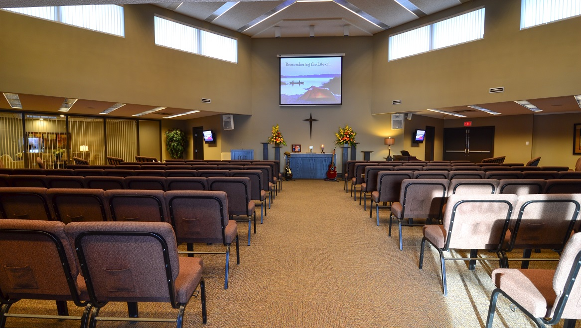 Funeral home chapel for Celebration of Life events and services