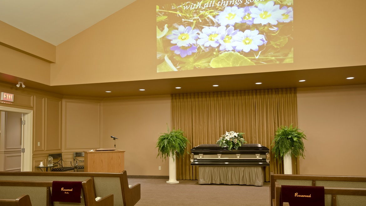 Funeral home chapel with video services