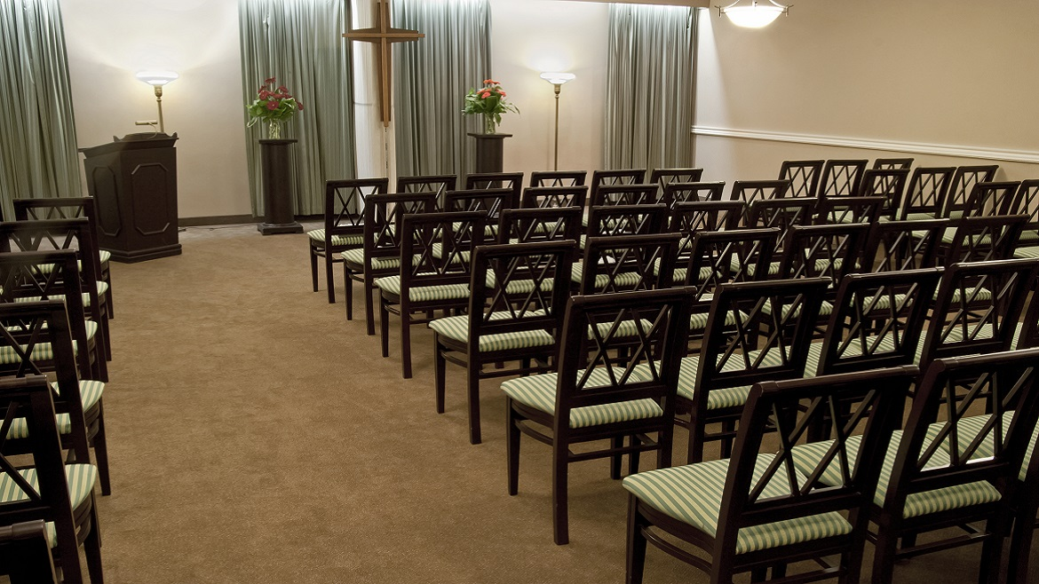 Funeral home chapel with AV capabilities
