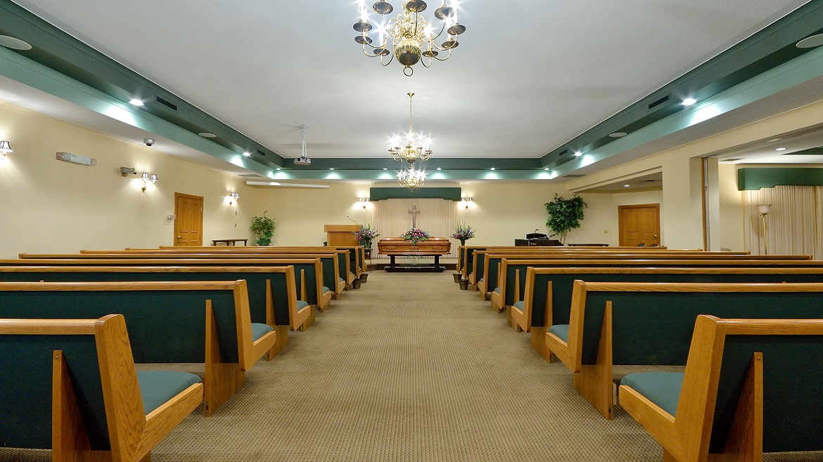 Funeral home chapel accommodates over 100 people