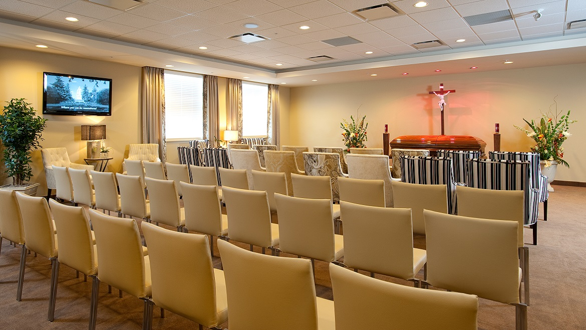 Funeral home chapel for services and Celebration of Life events