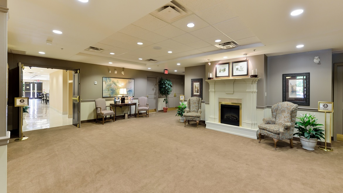 Elegant funeral home with lots of space and parking
