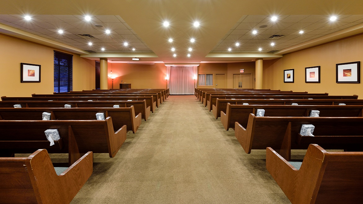 Funeral home chapel with seating for 225