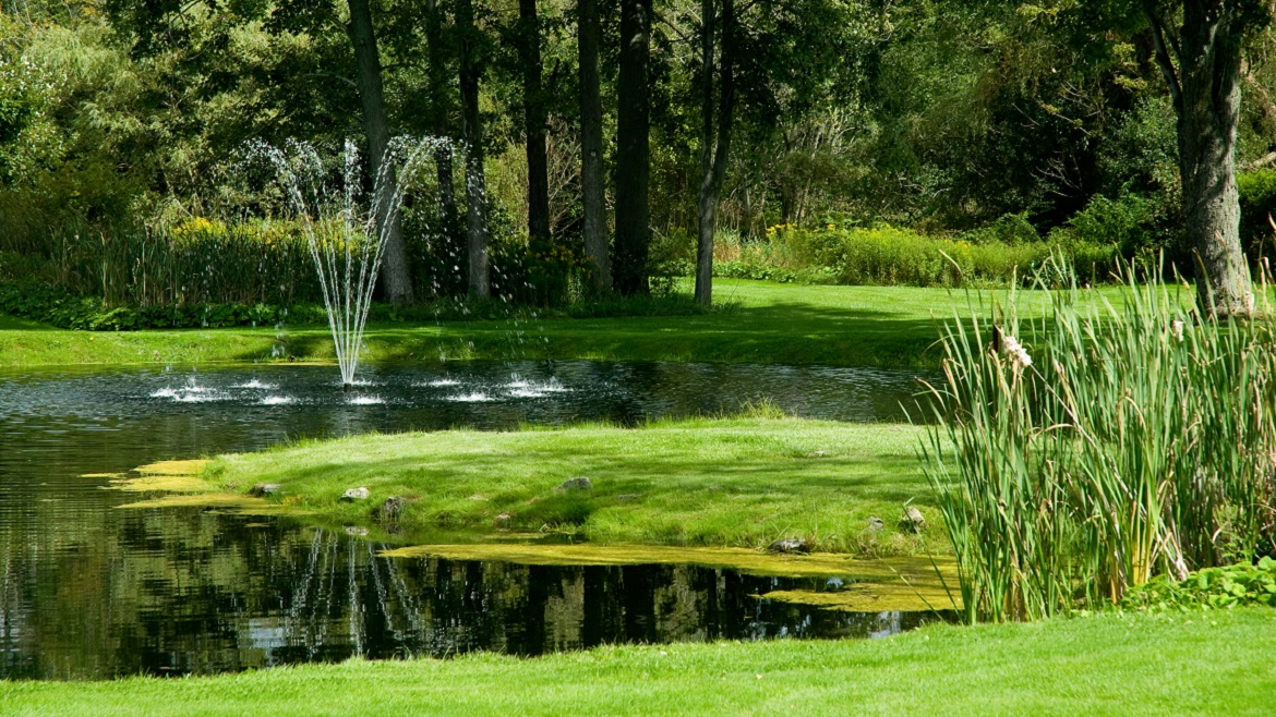 Beautiful landscaped cemetery gardens and ponds