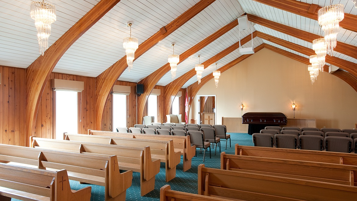 Funeral Home Chapel seats 130 people