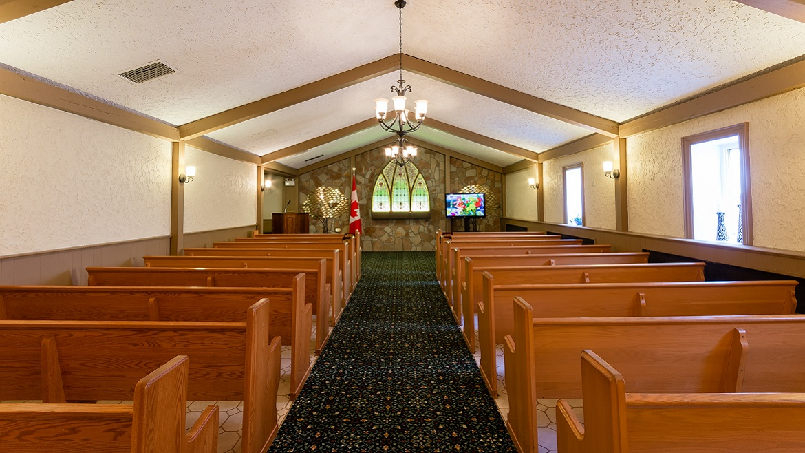 Funeral home chapel seats 100+ people