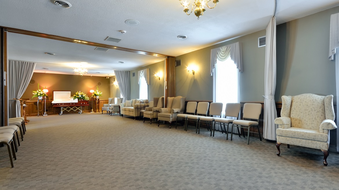 Funeral home can accommodate 120 people for Celebration of Life and memorial events
