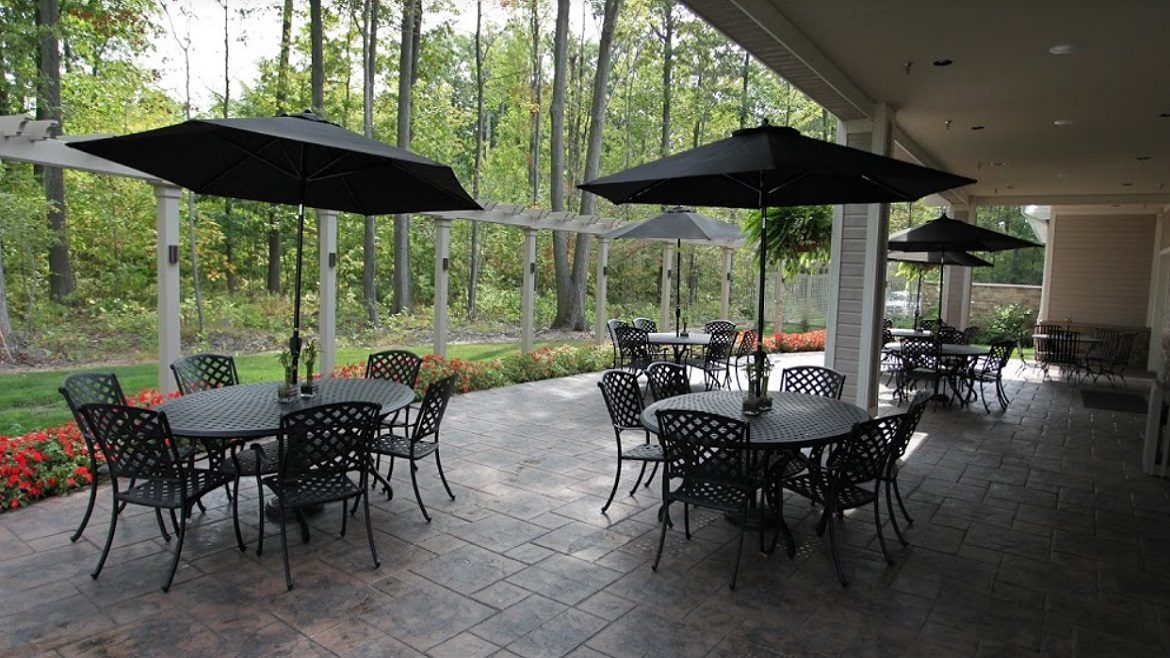 Outdoor reception area at the funeral home