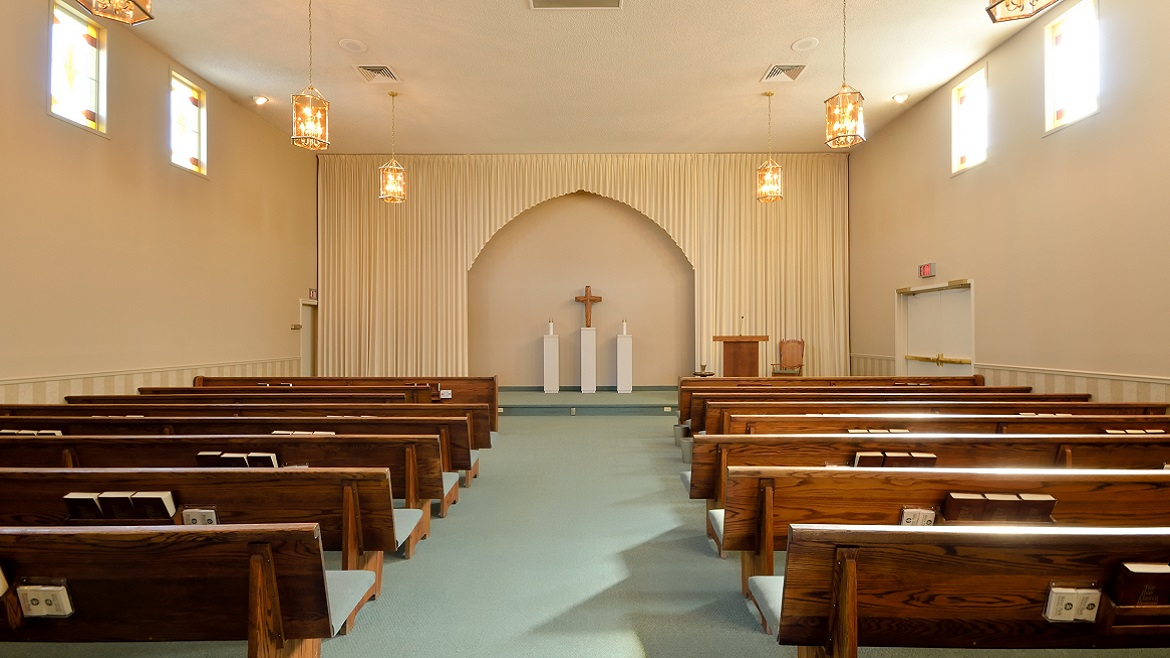 Funeral home chapel with organ