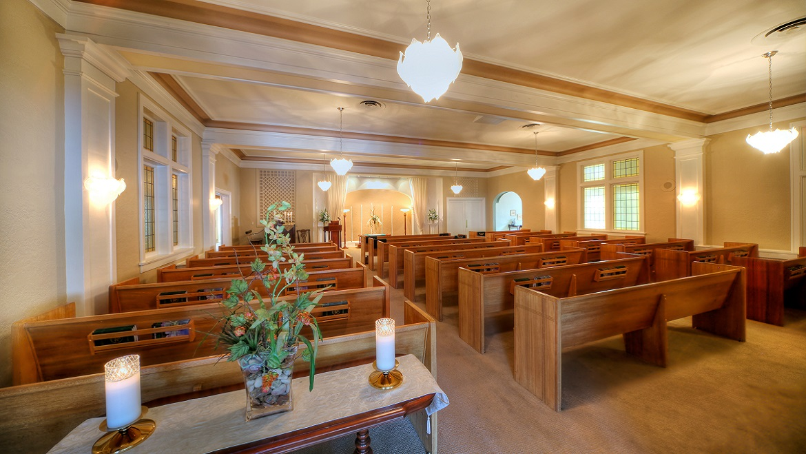 Funeral home chapel accommodates 130 people
