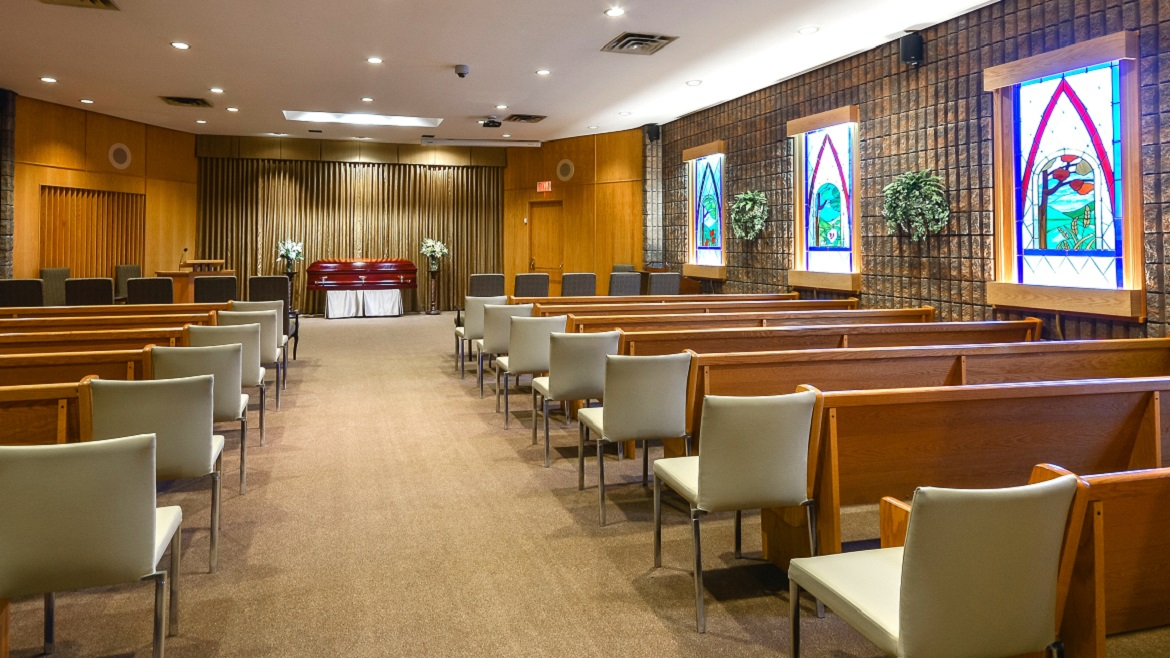 Funeral home chapel can seat 200 people