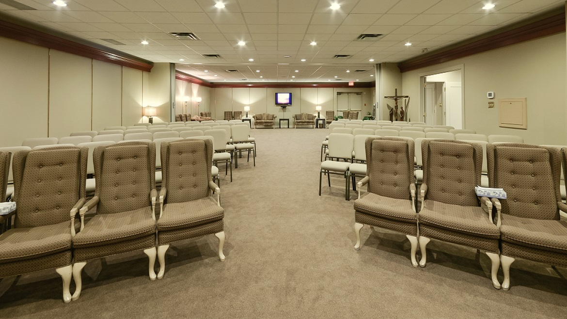 Rooms can be set up for large Memorials or services