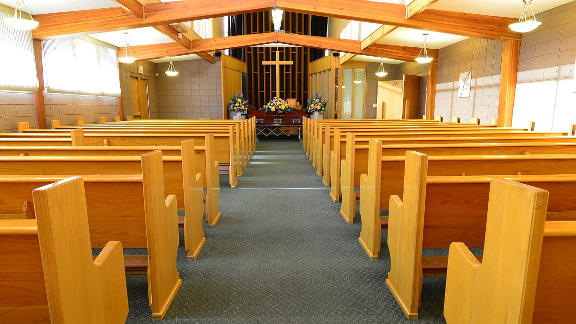Funeral chapel can seat 200